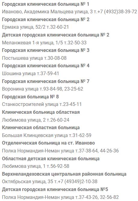 Иваново запись на прием к врачу больницы